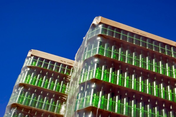 Stack of green glass bottles